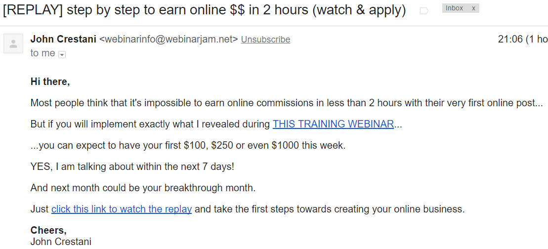 claim to earn commission within 2 hours