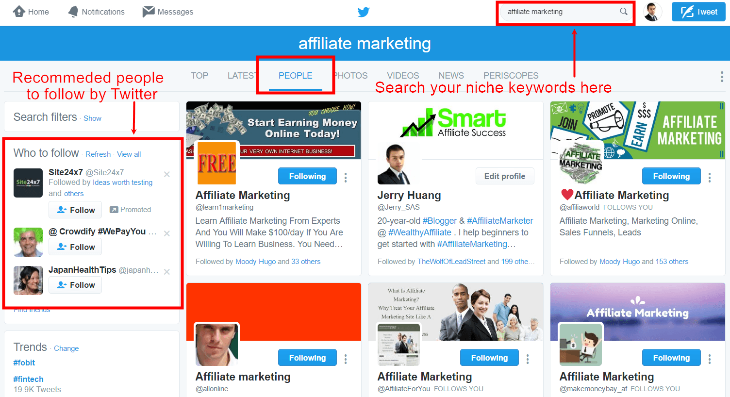 how to grow twitter followers fast step 2: start following people in your niche