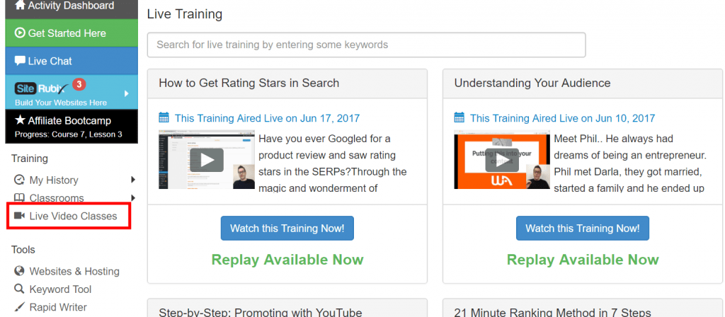 wealthy affiliate live training replays