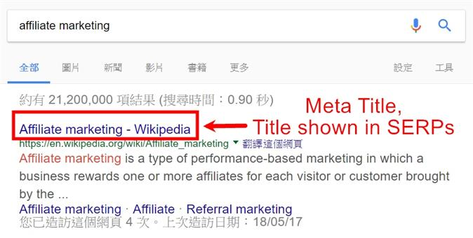 meta title example in serps
