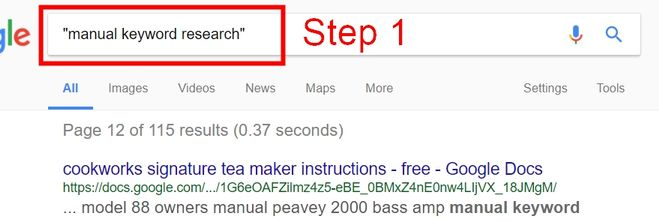 manual keyword competition research step 1