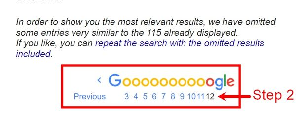 manual keyword competition research step 2