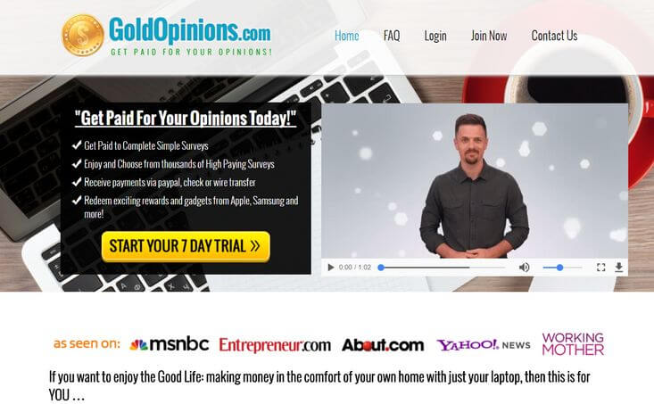 gold opinions sales page