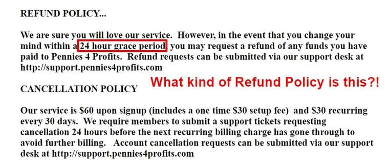 pennies4profits refund policy