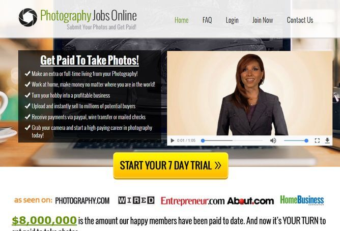 photography jobs online sales page