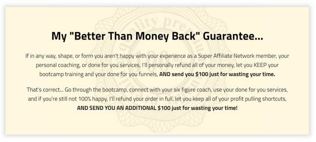 the super affiliate network refund policy