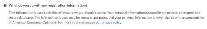 american consumer opinion privacy policy