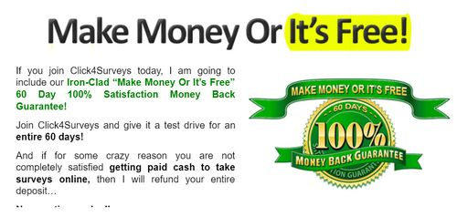 click 4 surveys money back guarantee