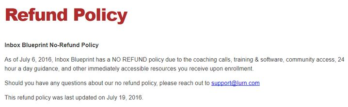 inbox blueprint no refund policy