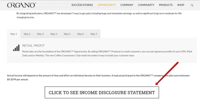 organo gold income disclosure