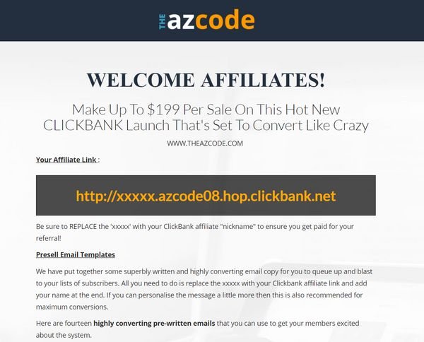 the az code affiliate's page