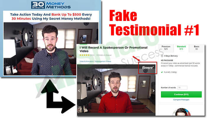 30 minute money methods fake testimonial 1
