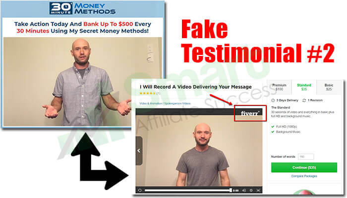 30 minute money methods fake testimonial 2
