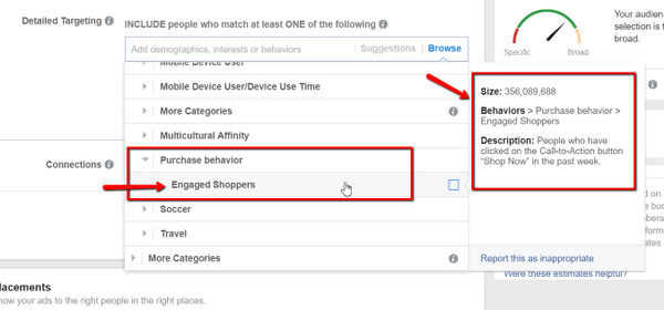 Facebook behavioral targeting