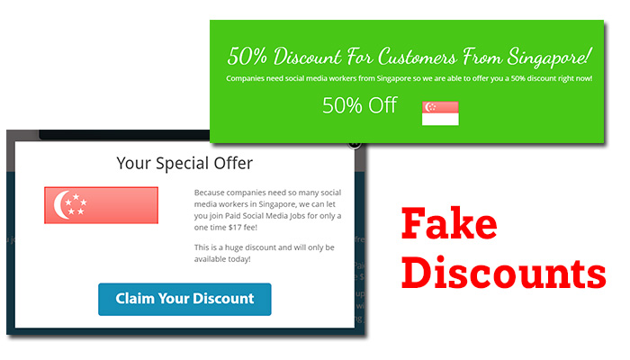 paid social media jobs fake discounts
