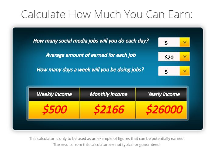 paid social media jobs income