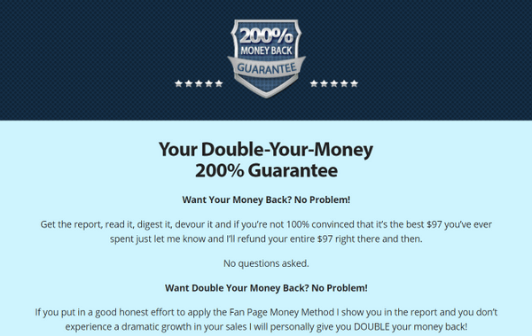 fan page money method refund policy