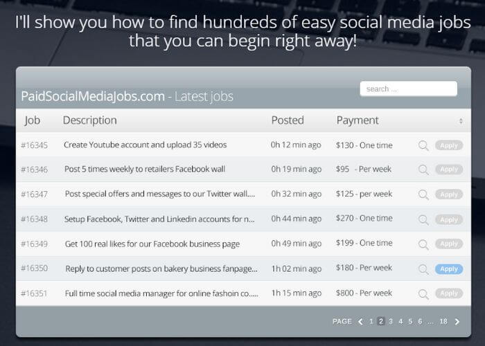 paid social media jobs sample