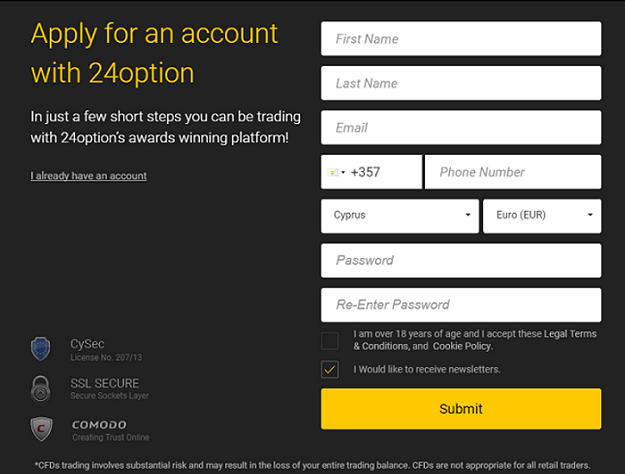 24Option Account opening 1