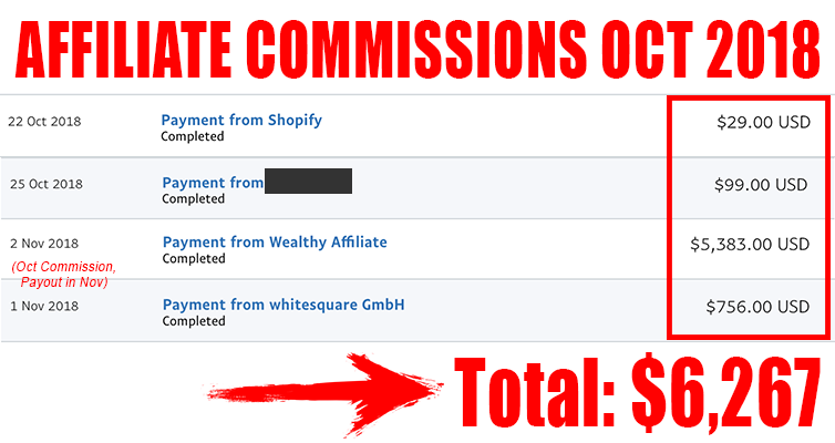 affiliate commissions oct 2018