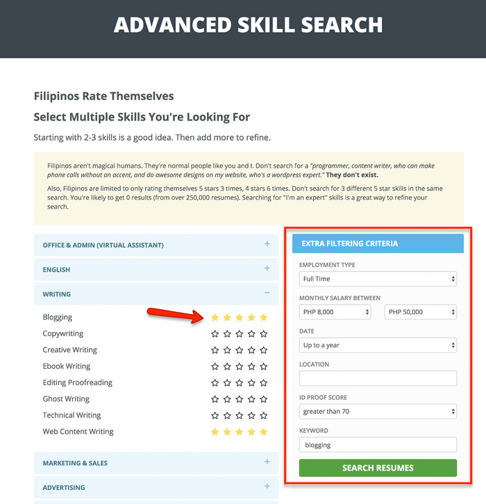 advanced skill search