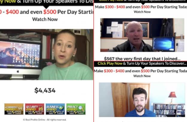 Real Profits Online Fake Testimonials