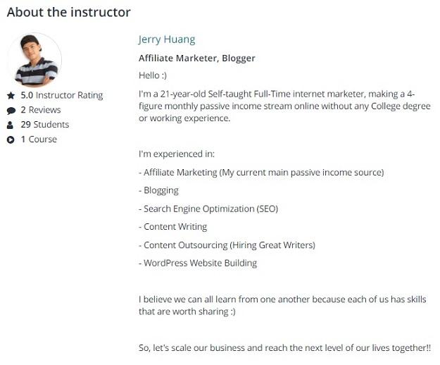 Udemy Jerry Huang Udemy Profile