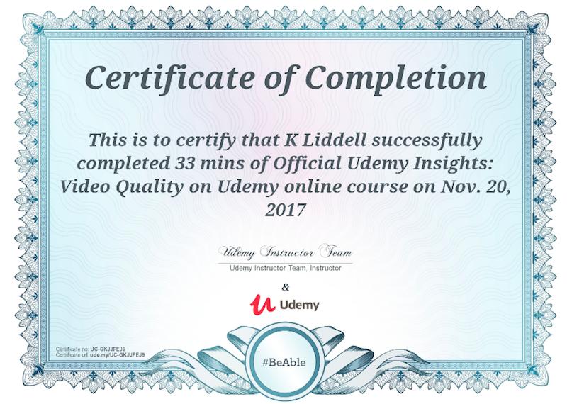 Udemy Sample Certificate