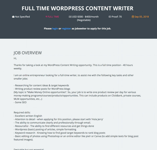 onlinejobs.ph job post sample
