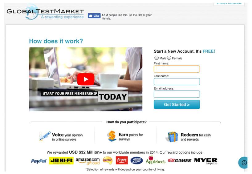 Global Test Market Homepage