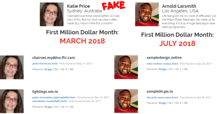 Million Dollar Replicator Fake Testimonials