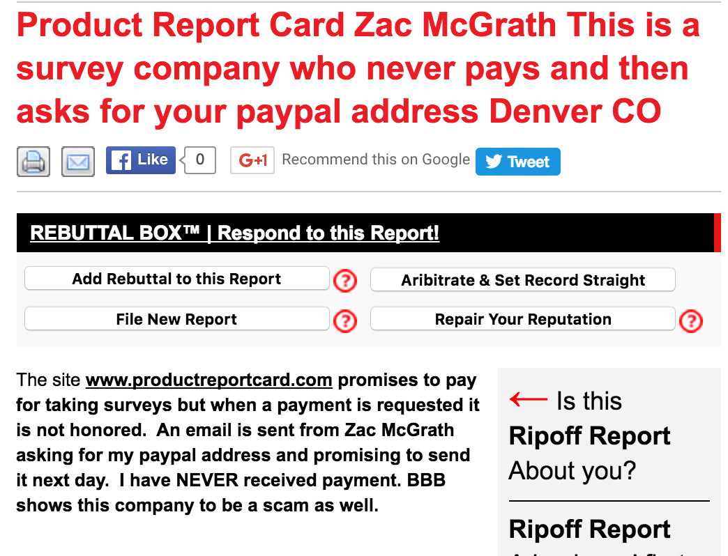 Product Report Card Did Not Pay