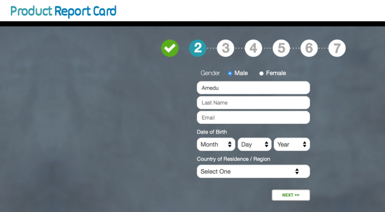 Product Report Card Signing Up