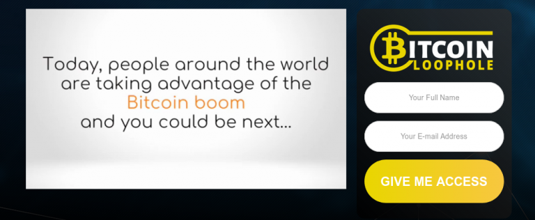 Bitcoin Loophole Landing Page