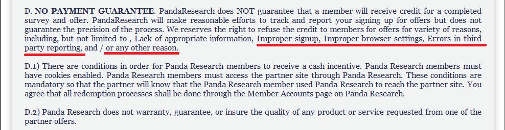 Panda Research No Payment Guarantee