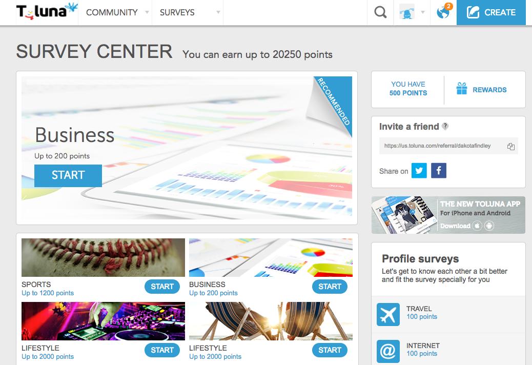 Toluna Surveys Homepage