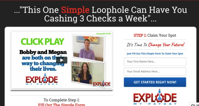 Explode My Payday Landing Page