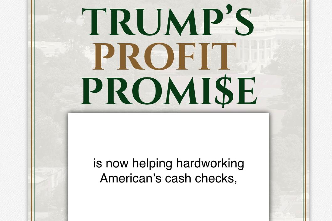 Trump Bonus Checks Homepage