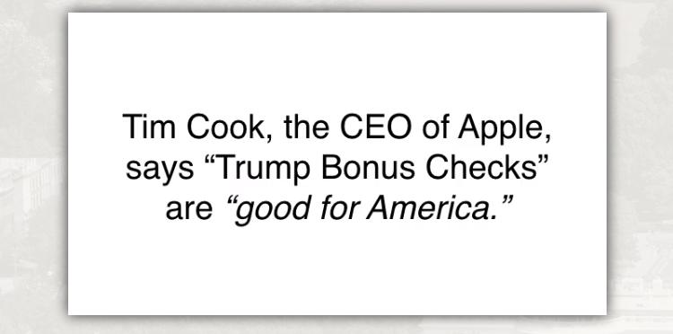 Trump Bonus Checks Tim Cook