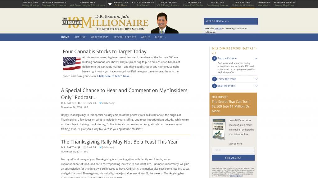 10 Minute Millionaire Landing Page