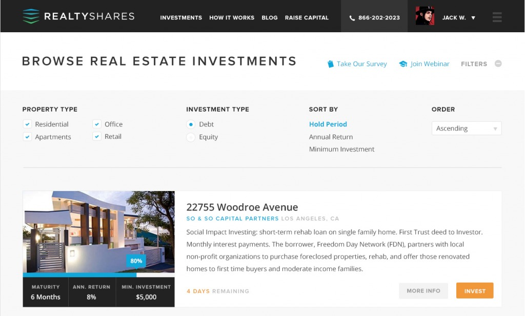 RealtyShares Landing Page