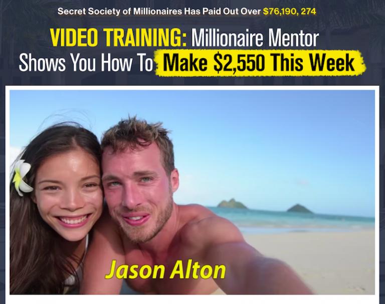 Secret Society of Millionaires Landing Page