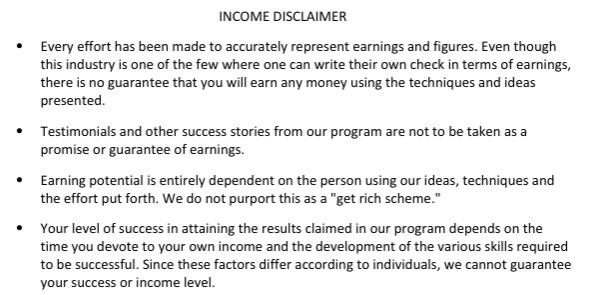 8 Figure Dream Lifestyle Income Disclaimer