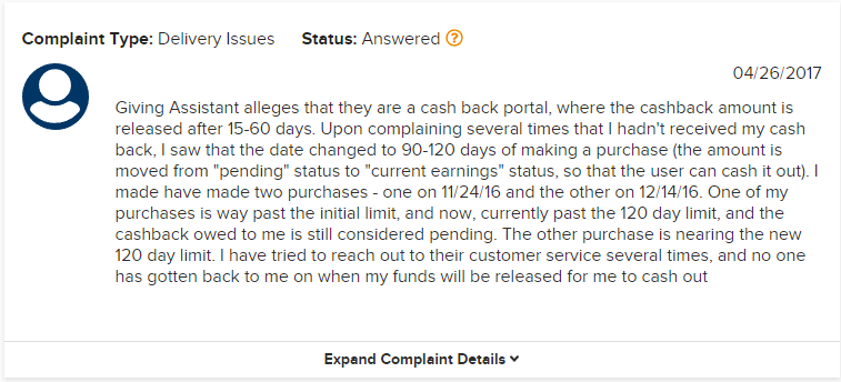 Giving Assistant Cash Back Complaint