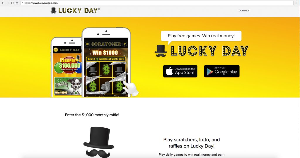 Lucky Day App Landing Page