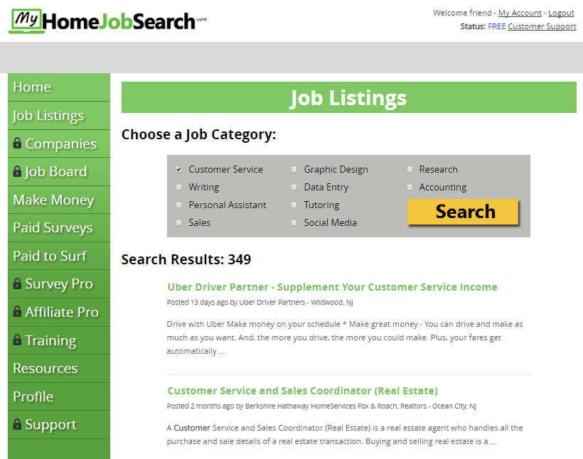 My Home Job Search Sample Job Listings