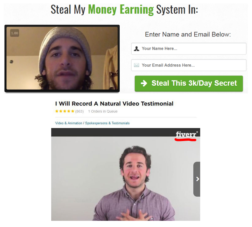 Same Fake testimonials from Steal My System used in Private Cash Sites