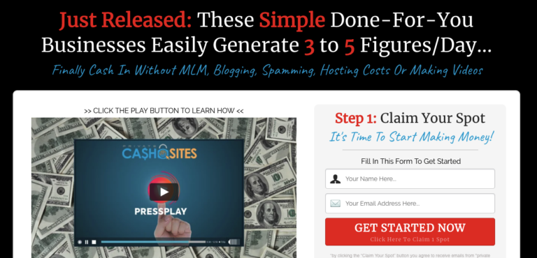 Private Cash Sites Landing Page