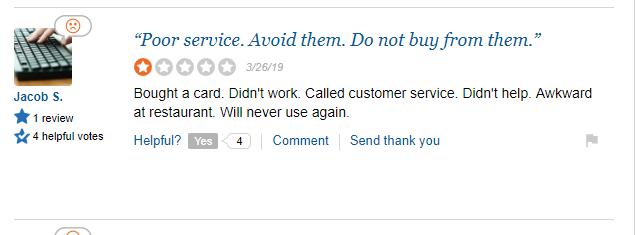 CardCash Complaint Poor Customer Service