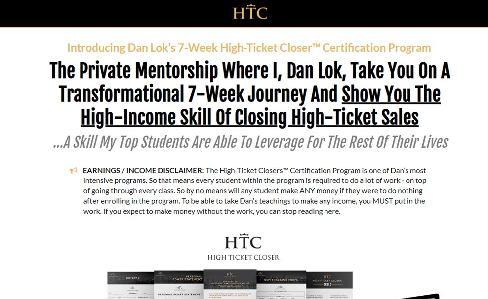 Is High Ticket Closer a Scam - Landing Page